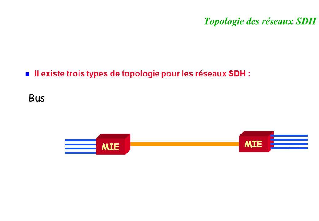 Il existe trois types de topologie pour les réseaux SDH : Topologie des réseaux SDH MIE Bus