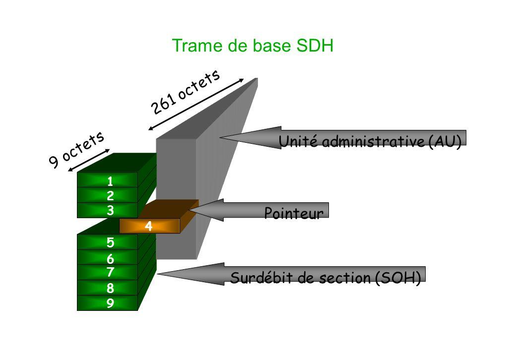 Trame de base SDH 1 2 3 5 6 7 8 9 4 Unité administrative (AU) Pointeur 9 octets 261 octets Surdébit de section (SOH)