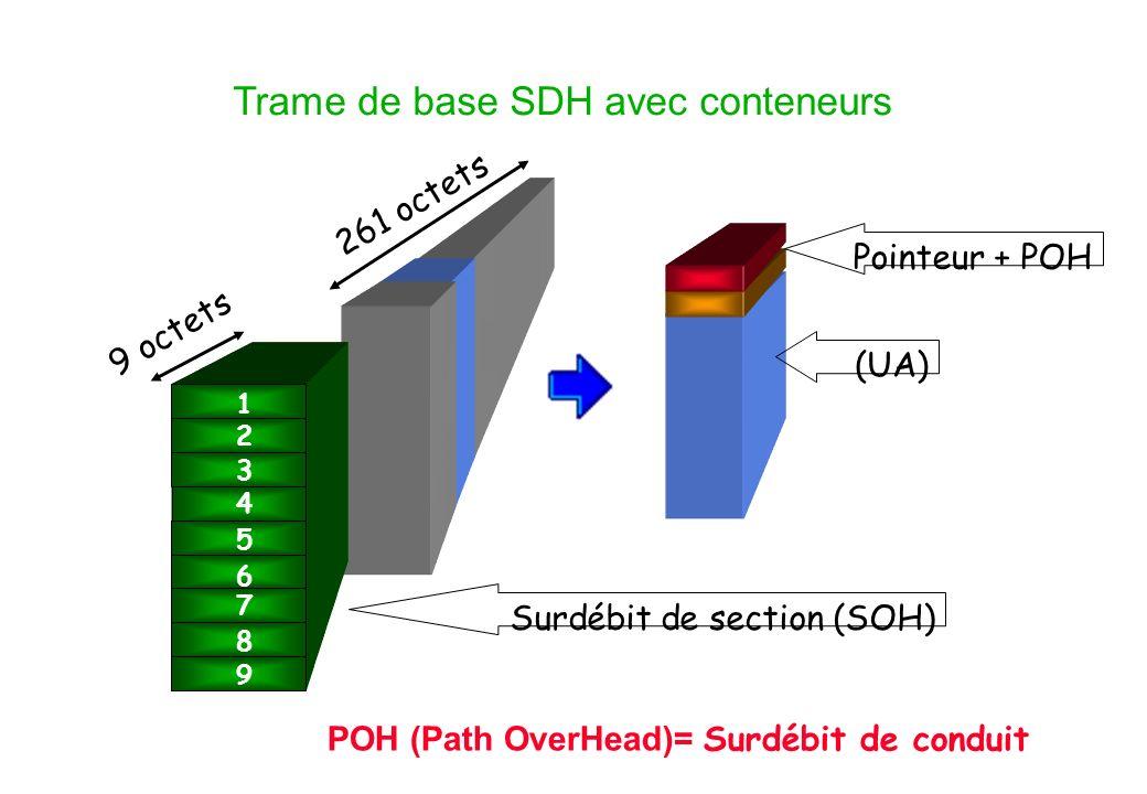 Trame de base SDH avec conteneurs 9 octets 261 octets Surdébit de section (SOH) 1 2 3 5 6 7 8 9 4 (UA) Pointeur + POH POH (Path OverHead)= Surdébit de conduit