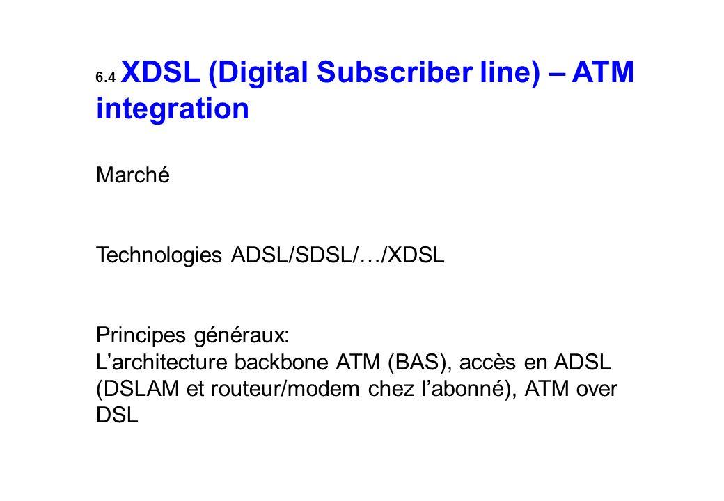 6.4 XDSL (Digital Subscriber line) – ATM integration Marché Technologies ADSL/SDSL/…/XDSL Principes généraux: Larchitecture backbone ATM (BAS), accès en ADSL (DSLAM et routeur/modem chez labonné), ATM over DSL