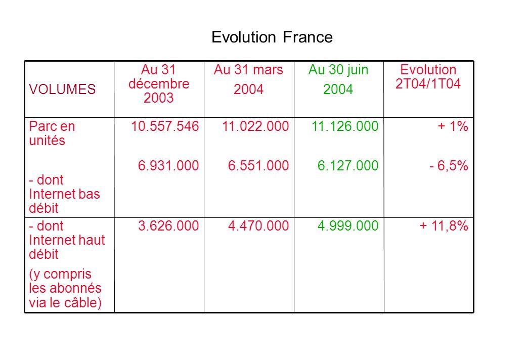 + 11,8%4.999.0004.470.0003.626.000- dont Internet haut débit (y compris les abonnés via le câble) + 1% - 6,5% 11.126.000 6.127.000 11.022.000 6.551.000 10.557.546 6.931.000 Parc en unités - dont Internet bas débit Evolution 2T04/1T04 Au 30 juin 2004 Au 31 mars 2004 Au 31 décembre 2003 VOLUMES Evolution France