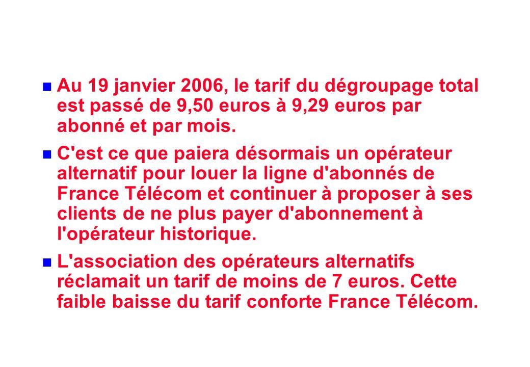 Au 19 janvier 2006, le tarif du dégroupage total est passé de 9,50 euros à 9,29 euros par abonné et par mois.