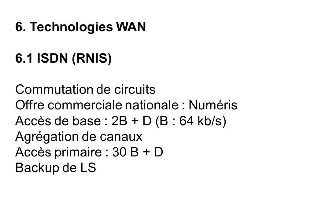 6. Technologies WAN 6.1 ISDN (RNIS) Commutation de circuits Offre commerciale nationale : Numéris Accès de base : 2B + D (B : 64 kb/s) Agrégation de c