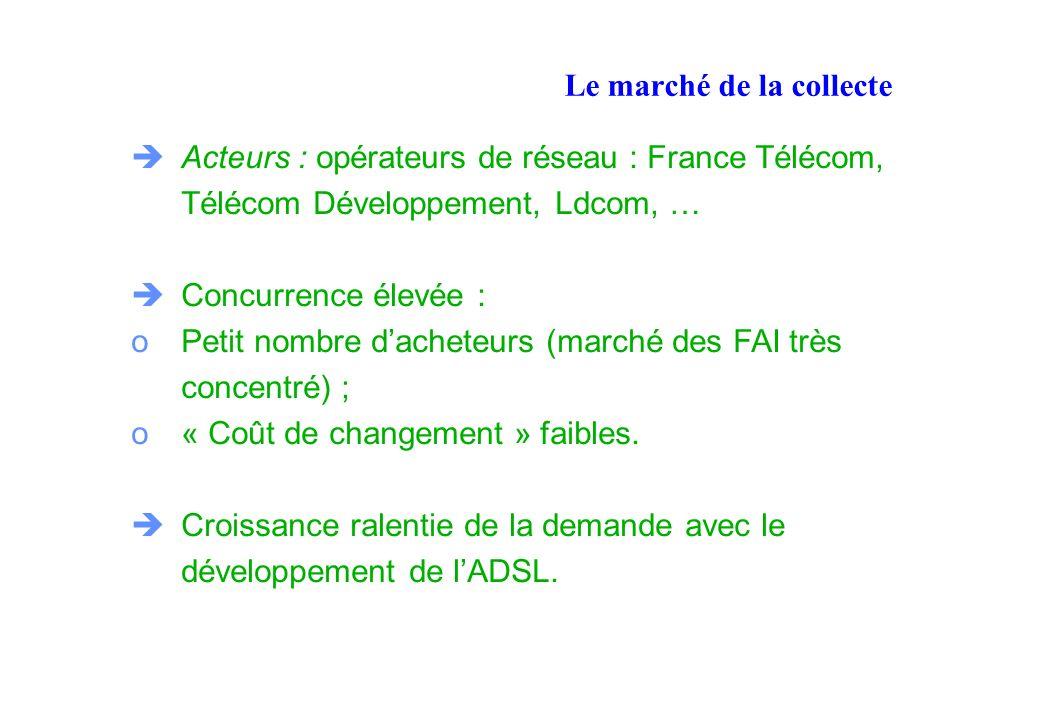 Le marché de la collecte Acteurs : opérateurs de réseau : France Télécom, Télécom Développement, Ldcom, … Concurrence élevée : oPetit nombre dacheteurs (marché des FAI très concentré) ; o« Coût de changement » faibles.