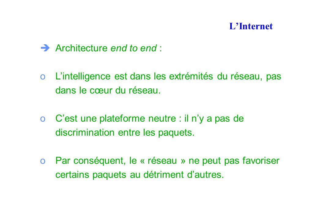 LInternet Architecture end to end : oLintelligence est dans les extrémités du réseau, pas dans le cœur du réseau.