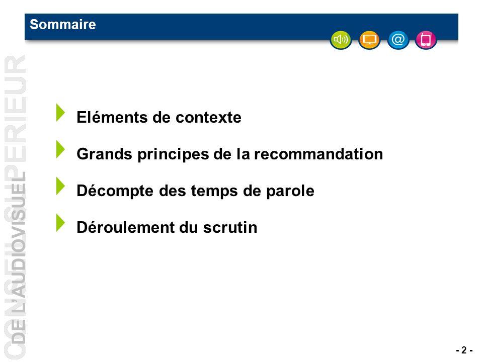DE LAUDIOVISUEL - 2 - Sommaire Eléments de contexte Grands principes de la recommandation Décompte des temps de parole Déroulement du scrutin