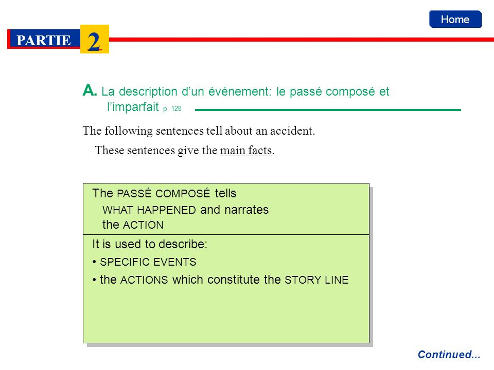 The following sentences tell about an accident. These sentences give the main facts. Home A. La description dun événement: le passé composé et limparf
