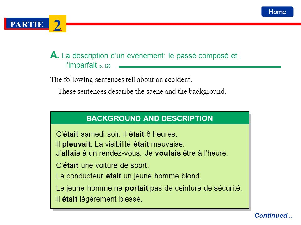 The following sentences tell about an accident. These sentences describe the scene and the background. Home A. La description dun événement: le passé