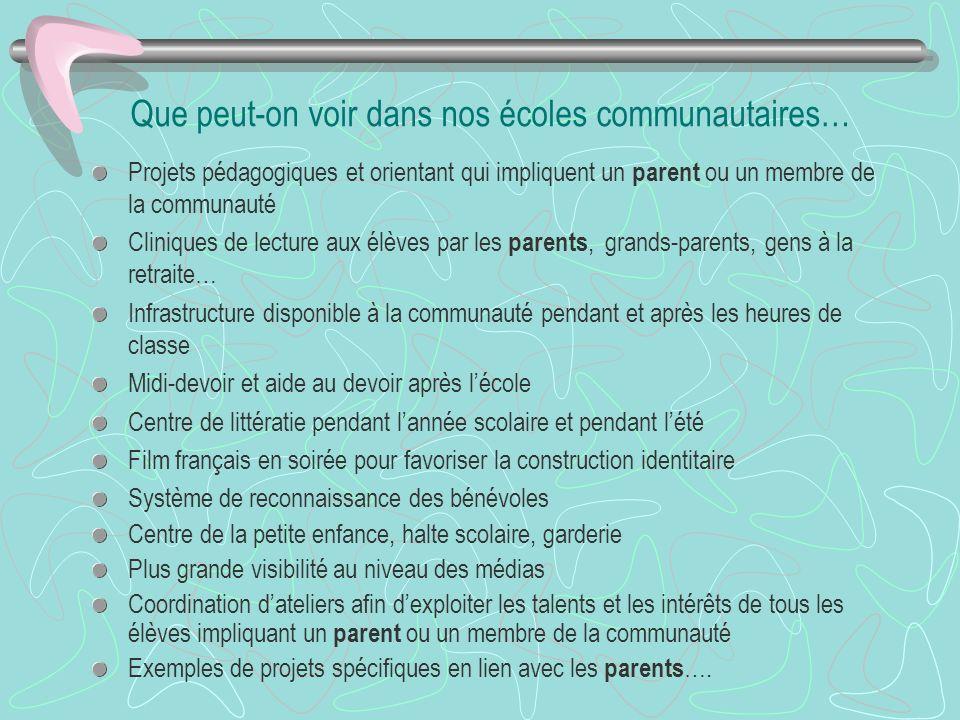 Que peut-on voir dans nos écoles communautaires… Projets pédagogiques et orientant qui impliquent un parent ou un membre de la communauté Cliniques de