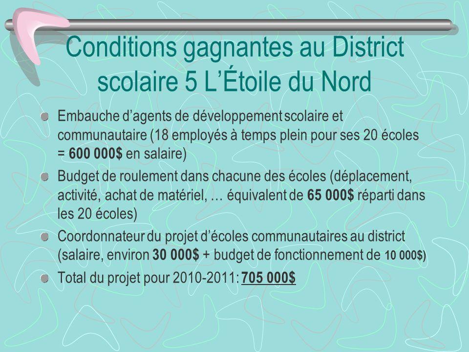 Conditions gagnantes au District scolaire 5 LÉtoile du Nord Embauche dagents de développement scolaire et communautaire (18 employés à temps plein pou