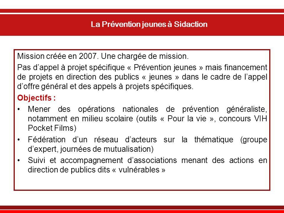 La Prévention jeunes à Sidaction Mission créée en 2007.