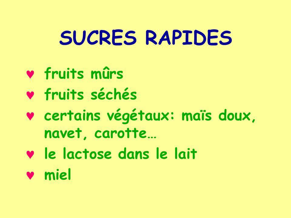 SUCRES RAPIDES fruits mûrs fruits séchés certains végétaux: maïs doux, navet, carotte… le lactose dans le lait miel