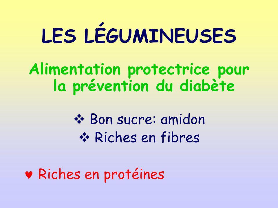 LES LÉGUMINEUSES Alimentation protectrice pour la prévention du diabète Bon sucre: amidon Riches en fibres Riches en protéines