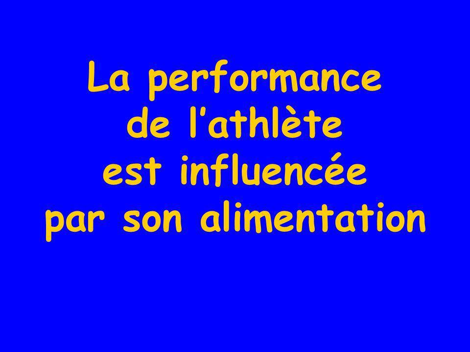 La performance de lathlète est influencée par son alimentation