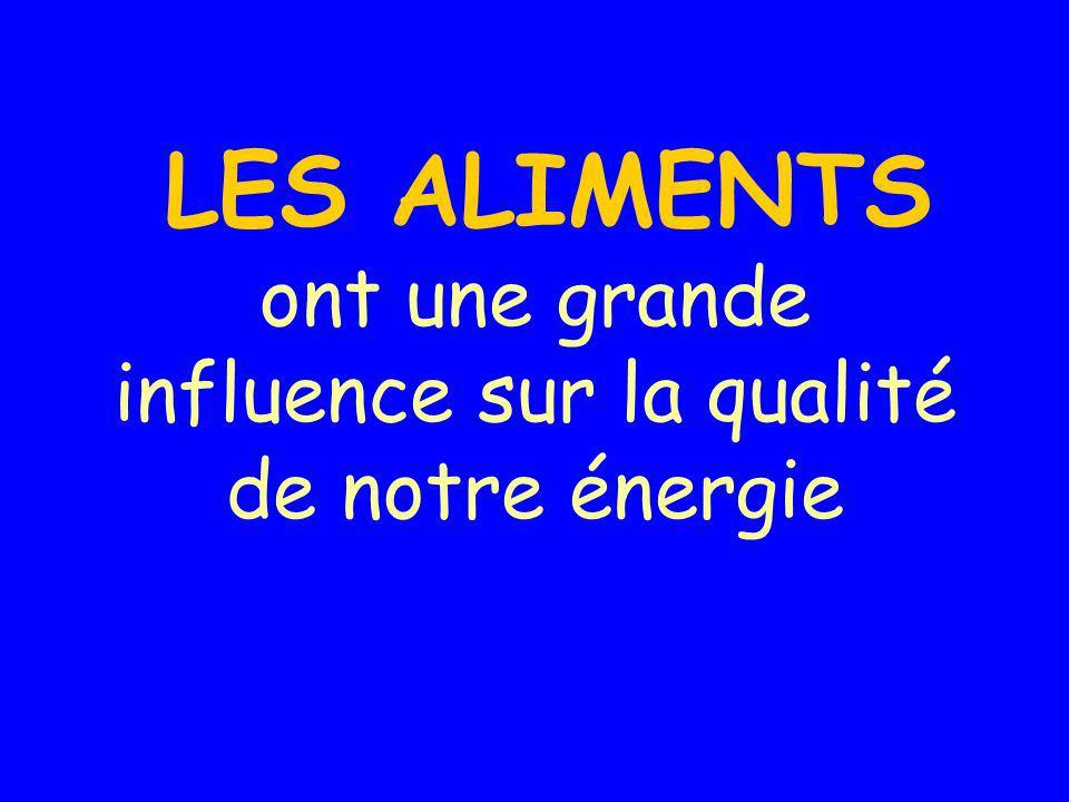 LES ALIMENTS ont une grande influence sur la qualité de notre énergie