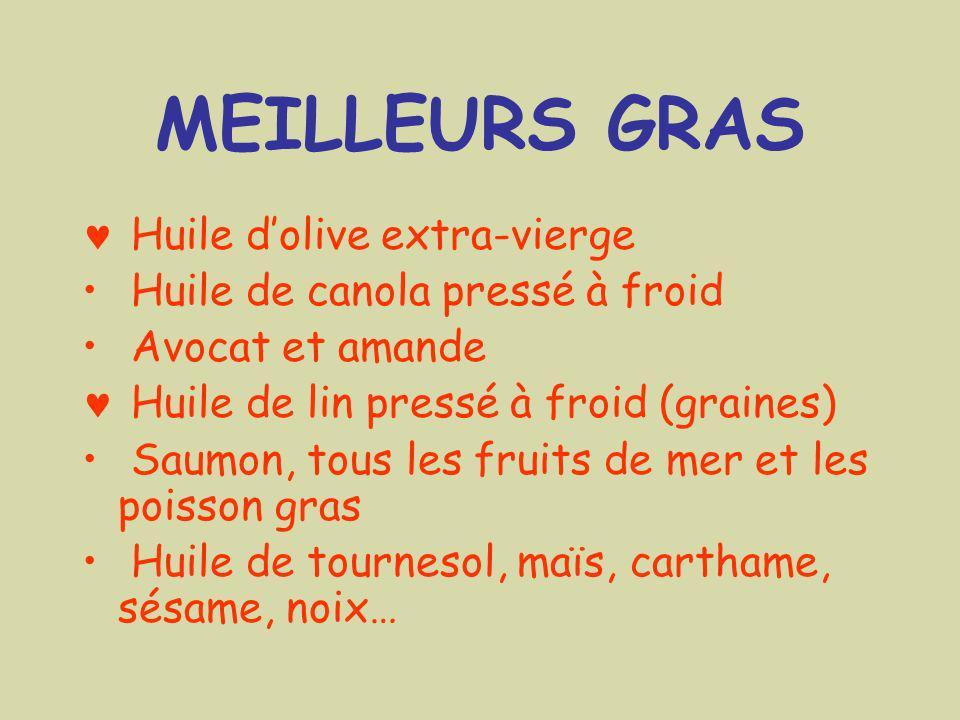 MEILLEURS GRAS Huile dolive extra-vierge Huile de canola pressé à froid Avocat et amande Huile de lin pressé à froid (graines) Saumon, tous les fruits