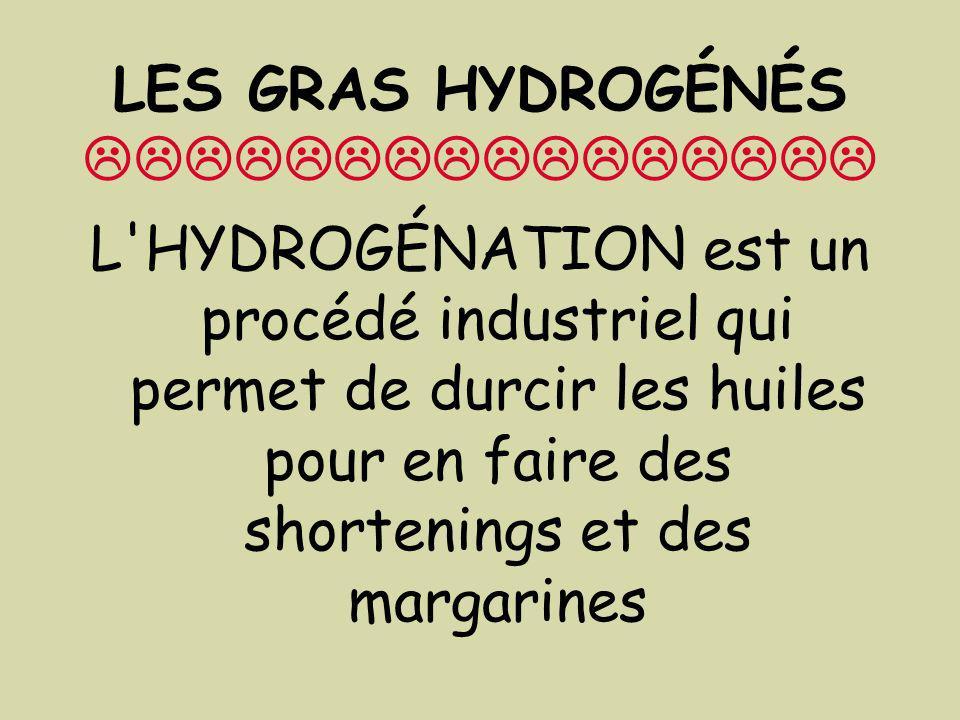 LES GRAS HYDROGÉNÉS L'HYDROGÉNATION est un procédé industriel qui permet de durcir les huiles pour en faire des shortenings et des margarines