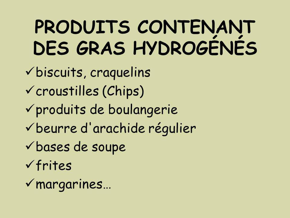 PRODUITS CONTENANT DES GRAS HYDROGÉNÉS biscuits, craquelins croustilles (Chips) produits de boulangerie beurre d arachide régulier bases de soupe frites margarines…