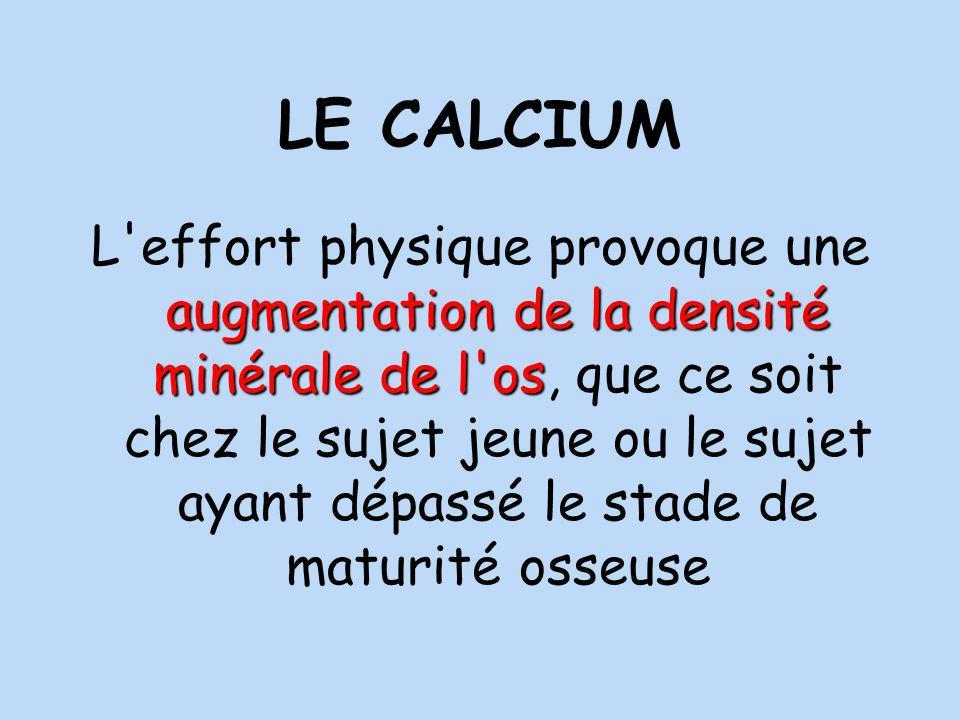 LE CALCIUM augmentation de la densité minérale de l os L effort physique provoque une augmentation de la densité minérale de l os, que ce soit chez le sujet jeune ou le sujet ayant dépassé le stade de maturité osseuse