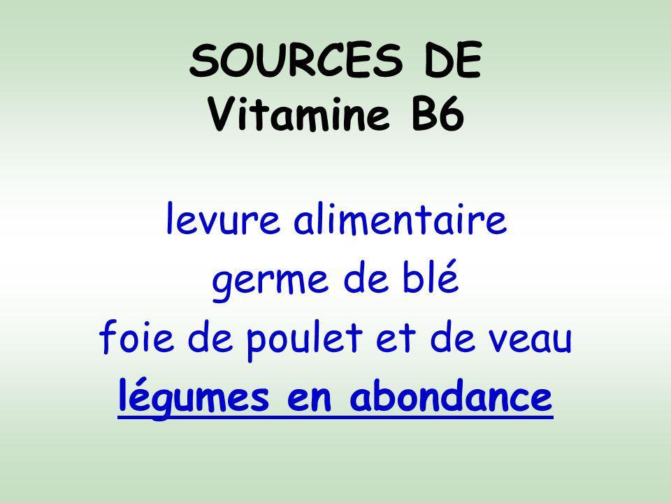 SOURCES DE Vitamine B6 levure alimentaire germe de blé foie de poulet et de veau légumes en abondance