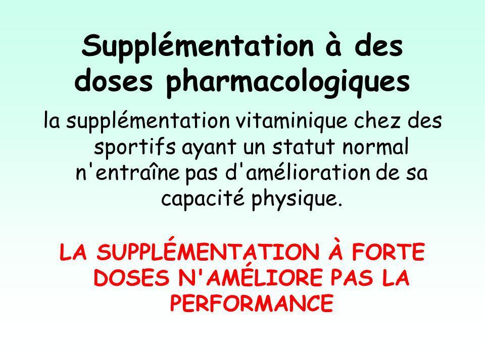 Supplémentation à des doses pharmacologiques la supplémentation vitaminique chez des sportifs ayant un statut normal n entraîne pas d amélioration de sa capacité physique.