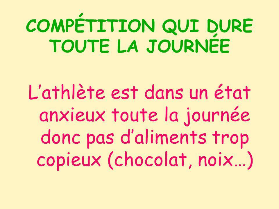 COMPÉTITION QUI DURE TOUTE LA JOURNÉE Lathlète est dans un état anxieux toute la journée donc pas daliments trop copieux (chocolat, noix…)