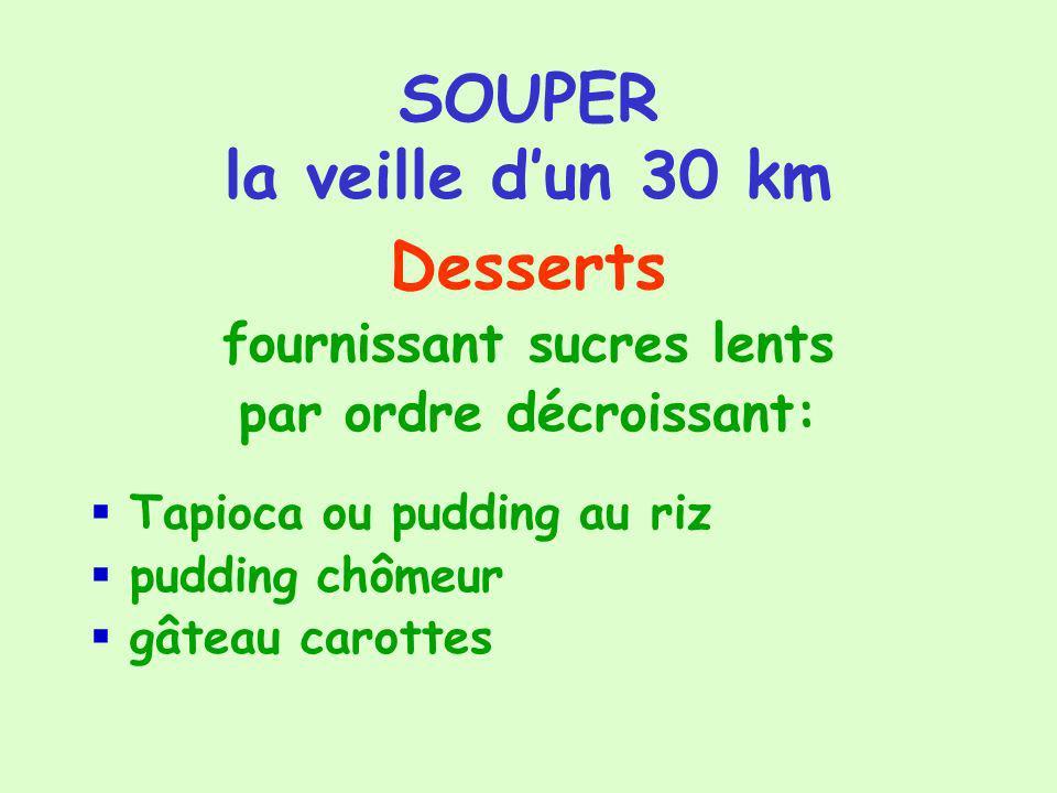 SOUPER la veille dun 30 km Desserts fournissant sucres lents par ordre décroissant: Tapioca ou pudding au riz pudding chômeur gâteau carottes
