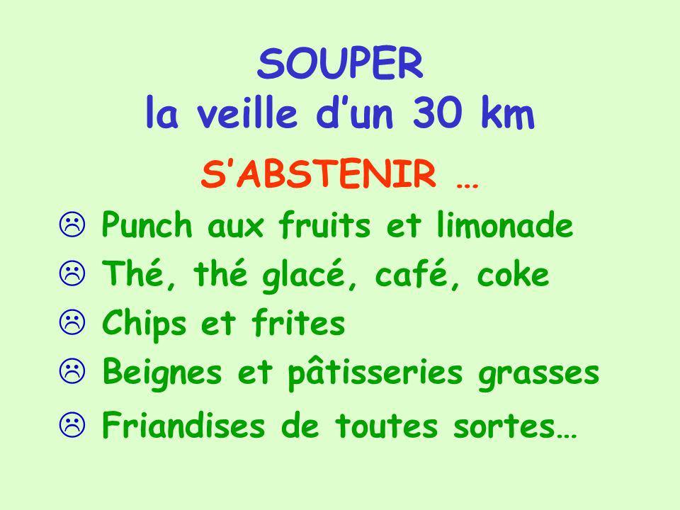 SOUPER la veille dun 30 km SABSTENIR … Punch aux fruits et limonade Thé, thé glacé, café, coke Chips et frites Beignes et pâtisseries grasses Friandis