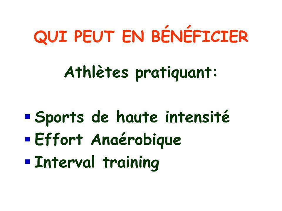 QUI PEUT EN BÉNÉFICIER Athlètes pratiquant: Sports de haute intensité Effort Anaérobique Interval training