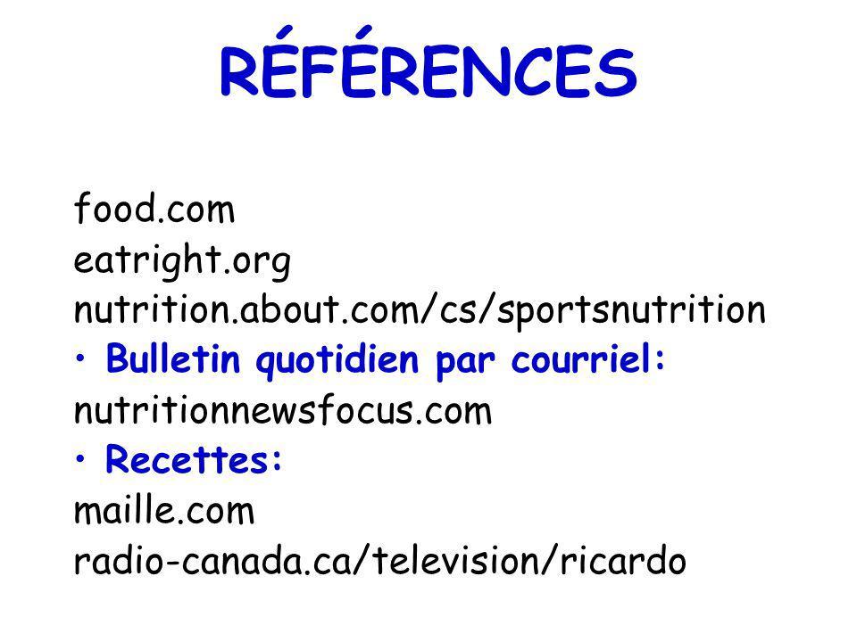 RÉFÉRENCES food.com eatright.org nutrition.about.com/cs/sportsnutrition Bulletin quotidien par courriel: nutritionnewsfocus.com Recettes: maille.com r