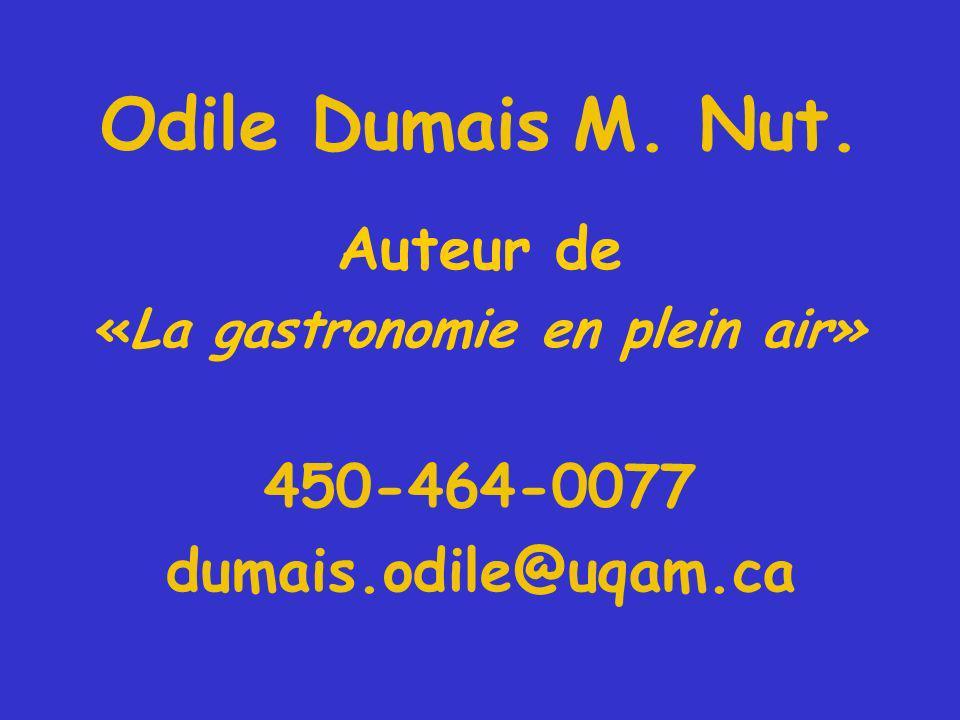 Odile Dumais M. Nut. Auteur de «La gastronomie en plein air» 450-464-0077 dumais.odile@uqam.ca