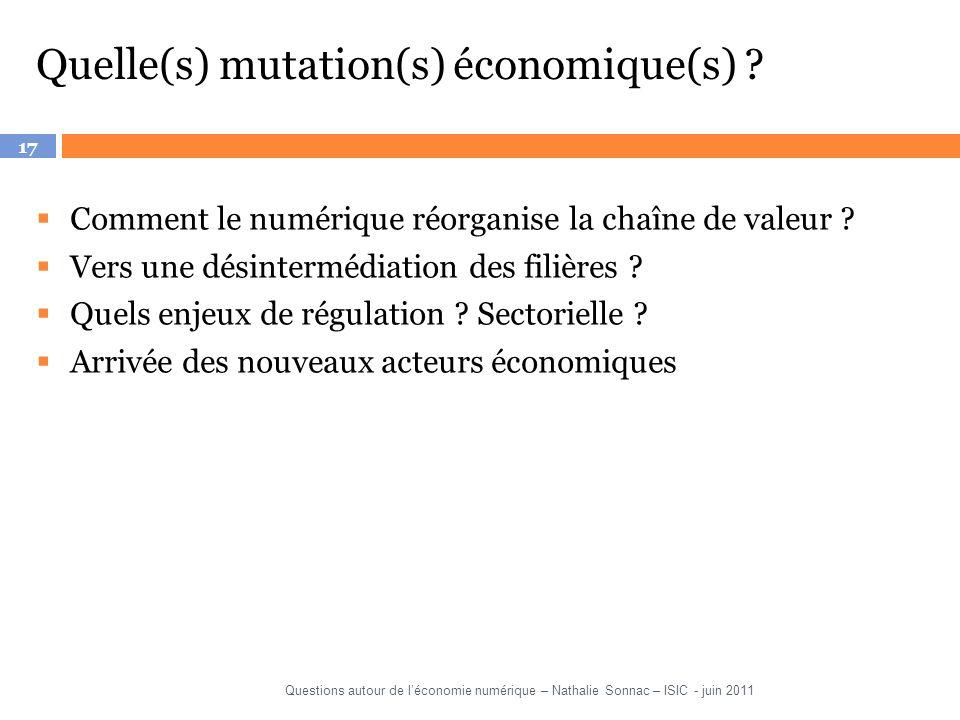17 Quelle(s) mutation(s) économique(s) ? Comment le numérique réorganise la chaîne de valeur ? Vers une désintermédiation des filières ? Quels enjeux