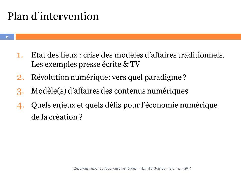 2 Plan dintervention 1.Etat des lieux : crise des modèles daffaires traditionnels.