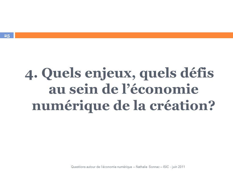 25 4. Quels enjeux, quels défis au sein de léconomie numérique de la création? Questions autour de léconomie numérique – Nathalie Sonnac – ISIC - juin