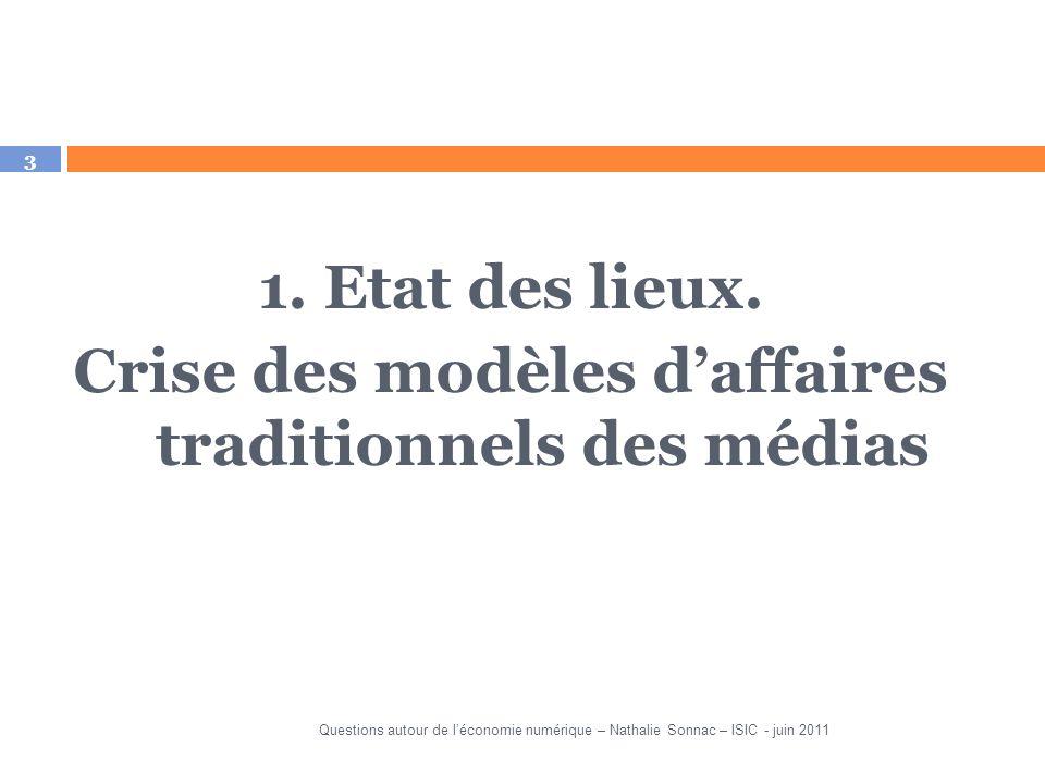 3 1. Etat des lieux. Crise des modèles daffaires traditionnels des médias Questions autour de léconomie numérique – Nathalie Sonnac – ISIC - juin 2011