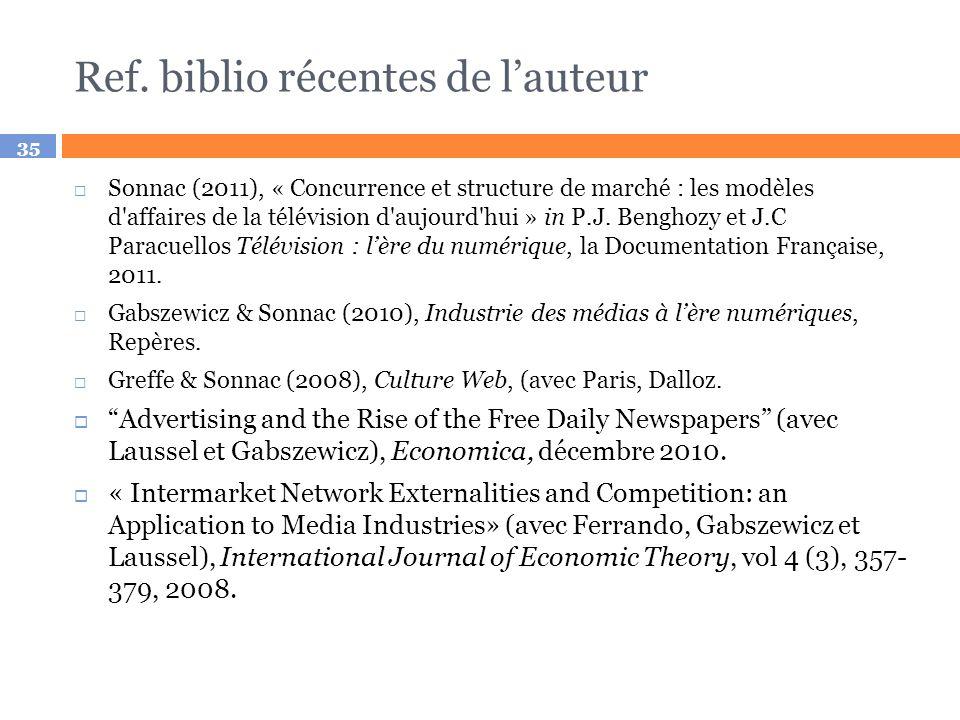 35 Ref. biblio récentes de lauteur Sonnac (2011), « Concurrence et structure de marché : les modèles d'affaires de la télévision d'aujourd'hui » in P.