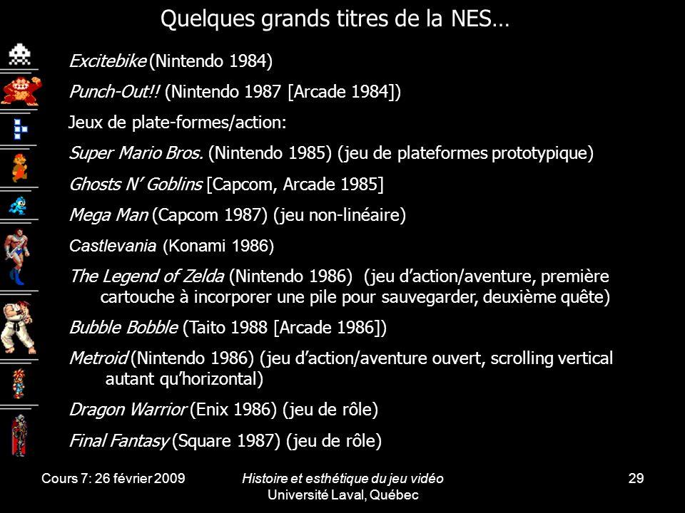 Cours 7: 26 février 2009Histoire et esthétique du jeu vidéo Université Laval, Québec 29 Excitebike (Nintendo 1984) Punch-Out!! (Nintendo 1987 [Arcade