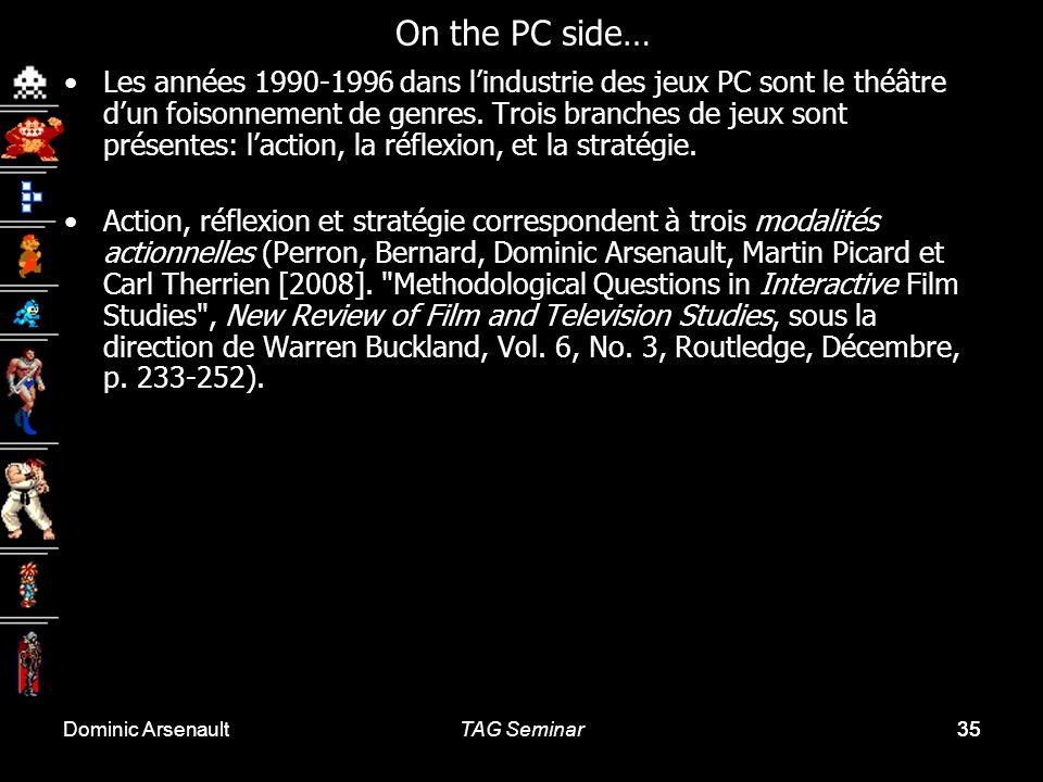 Dominic ArsenaultTAG Seminar35 Les années 1990-1996 dans lindustrie des jeux PC sont le théâtre dun foisonnement de genres. Trois branches de jeux son
