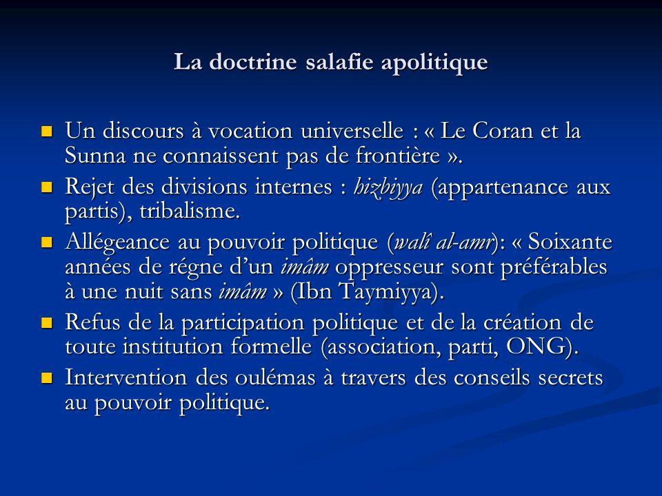 La doctrine salafie apolitique Un discours à vocation universelle : « Le Coran et la Sunna ne connaissent pas de frontière ».