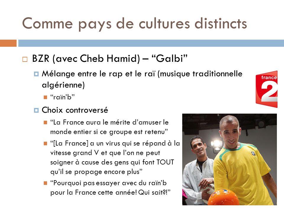 Comme pays de cultures distincts BZR (avec Cheb Hamid) – Galbi Mélange entre le rap et le raï (musique traditionnelle algérienne) raïnb Choix controve