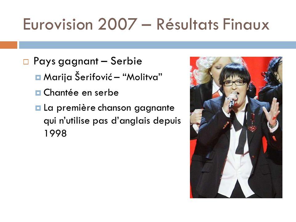 Eurovision 2007 – Résultats Finaux Pays gagnant – Serbie Marija Šerifović – Molitva Chantée en serbe La première chanson gagnante qui nutilise pas dan