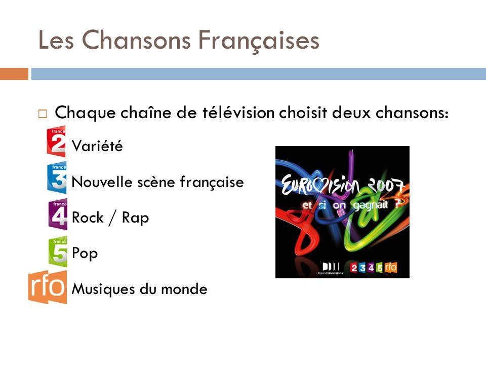 Les Chansons Françaises Chaque chaîne de télévision choisit deux chansons: Variété Nouvelle scène française Rock / Rap Pop Musiques du monde