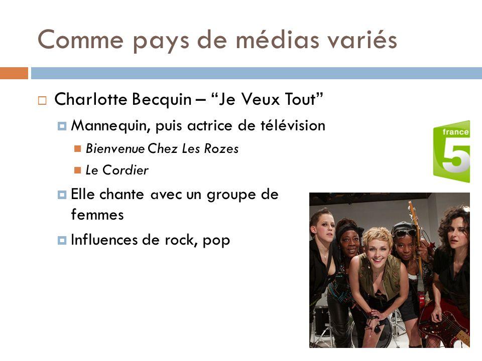 Comme pays de médias variés Charlotte Becquin – Je Veux Tout Mannequin, puis actrice de télévision Bienvenue Chez Les Rozes Le Cordier Elle chante a v