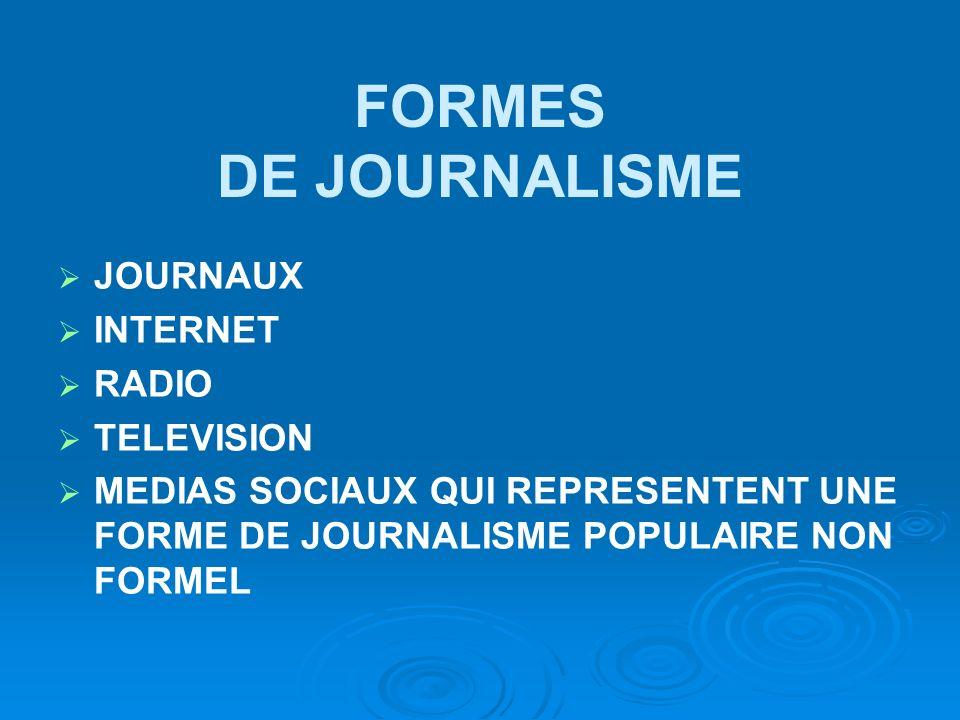 FORMES DE JOURNALISME JOURNAUX INTERNET RADIO TELEVISION MEDIAS SOCIAUX QUI REPRESENTENT UNE FORME DE JOURNALISME POPULAIRE NON FORMEL