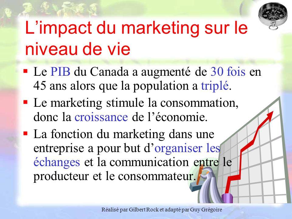 Réalisé par Gilbert Rock et adapté par Guy Grégoire Limpact du marketing sur le niveau de vie Le PIB du Canada a augmenté de 30 fois en 45 ans alors que la population a triplé.