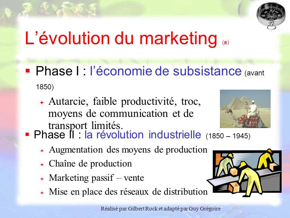 Réalisé par Gilbert Rock et adapté par Guy Grégoire Lévolution du marketing (a) Phase I : léconomie de subsistance (avant 1850) Autarcie, faible productivité, troc, moyens de communication et de transport limités.