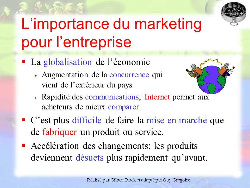 Réalisé par Gilbert Rock et adapté par Guy Grégoire Limportance du marketing pour lentreprise La globalisation de léconomie Augmentation de la concurrence qui vient de lextérieur du pays.