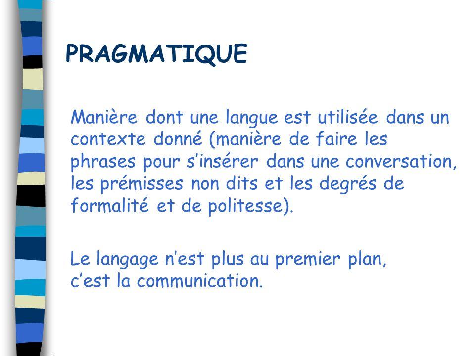 PRAGMATIQUE Manière dont une langue est utilisée dans un contexte donné (manière de faire les phrases pour sinsérer dans une conversation, les prémiss