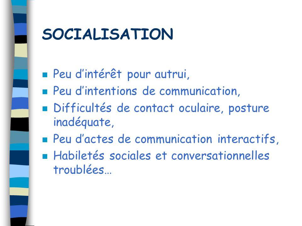 SOCIALISATION n Peu dintérêt pour autrui, n Peu dintentions de communication, n Difficultés de contact oculaire, posture inadéquate, n Peu dactes de c