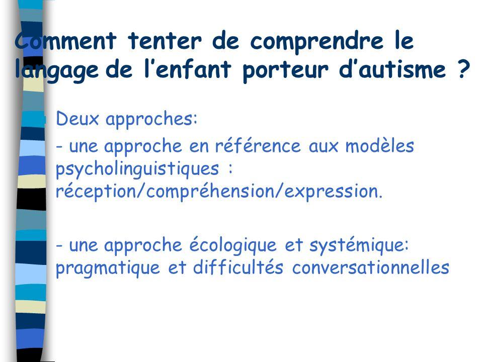 Comment tenter de comprendre le langage de lenfant porteur dautisme ? n Deux approches: - une approche en référence aux modèles psycholinguistiques :